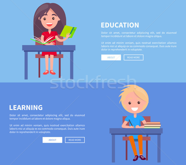 Education Learning Set of Posters with Boy and Girl Stock photo © robuart