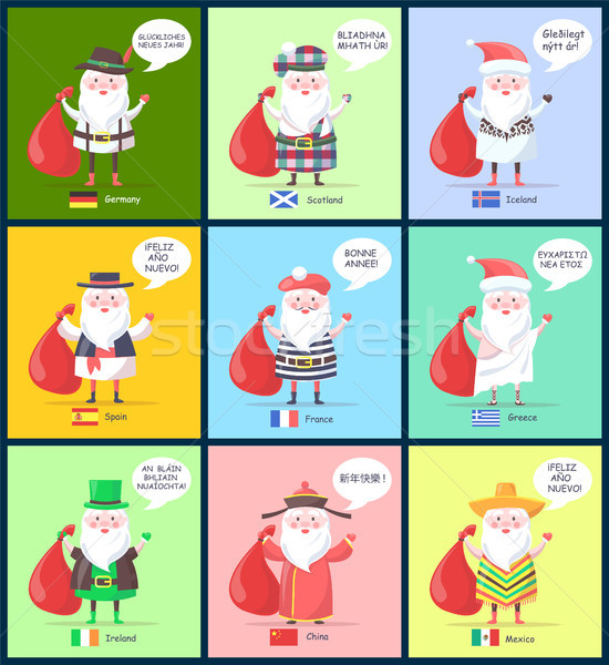 Germany Scotland Santa Clauses Vector Illustration Stock photo © robuart
