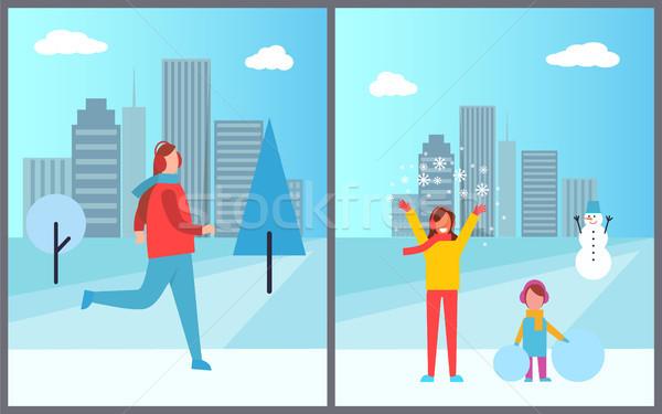 Pessoas cityscape coleção pôsteres esqui homem Foto stock © robuart