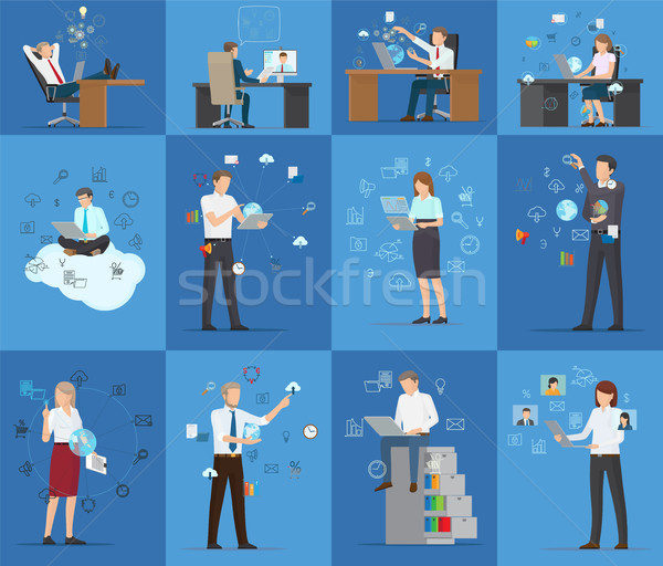 Many Technology Business Cards Vector Illustration Stock photo © robuart