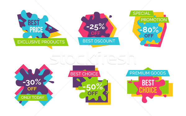 Exclusive Products Huge Sale Bright Logotypes Set Stock photo © robuart