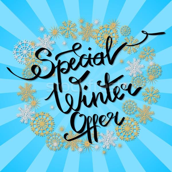 Especial inverno oferecer quadro flocos de neve decorativo Foto stock © robuart