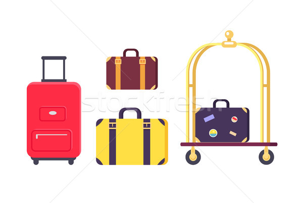Icons of Bags and Suitcases with Hotel Cart Stock photo © robuart