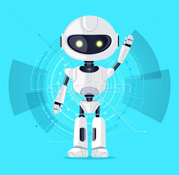 Robot interfész azúr kiemelt kar vonalak Stock fotó © robuart