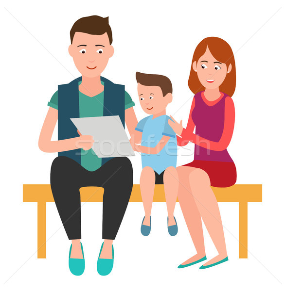 Family Mother Father and Son Sits on Bench List Stock photo © robuart