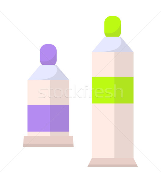 Two Paints Bottles Set, Flacons Vector Banner Stock photo © robuart