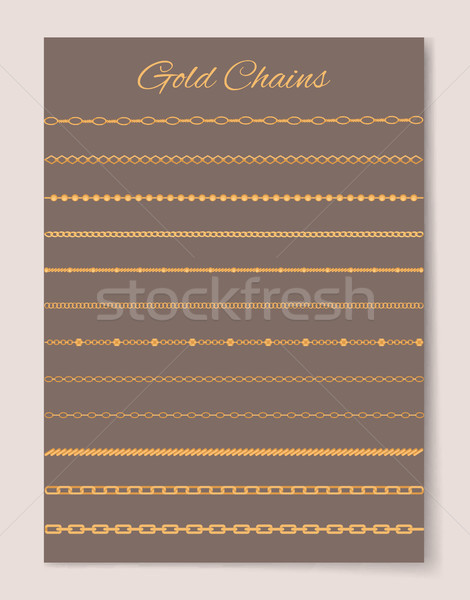 Gold Chains Collection Poster Vector Illustration Stock photo © robuart