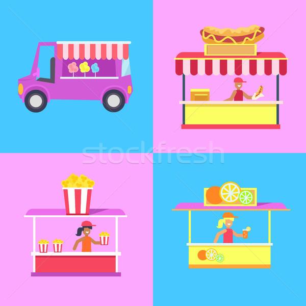 хлопка конфеты набор плакат Hot Dog поп Сток-фото © robuart