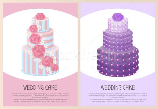 Wedding Cakes Set Sweet Bakery Posters Vector Text Stock photo © robuart
