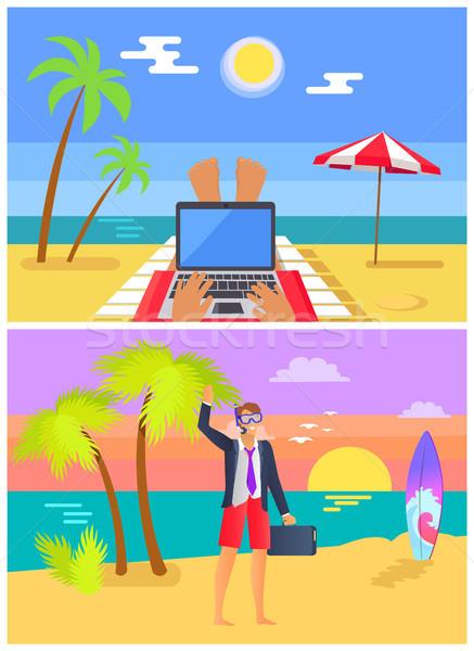 Werk zandstrand zomer ingesteld stranden persoon Stockfoto © robuart