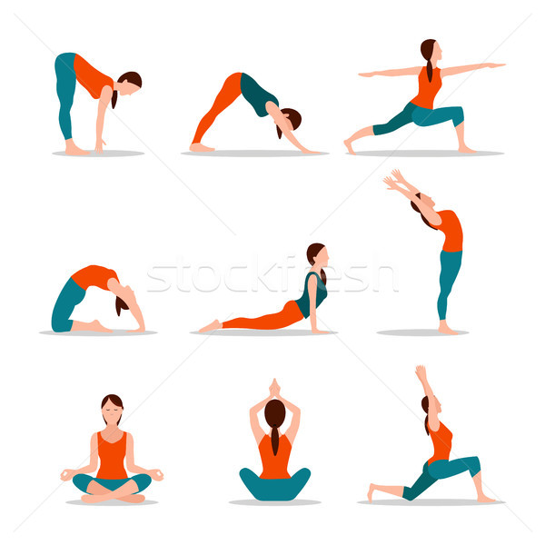 Yoga Collection of Poses, Vector Illustration Stock photo © robuart