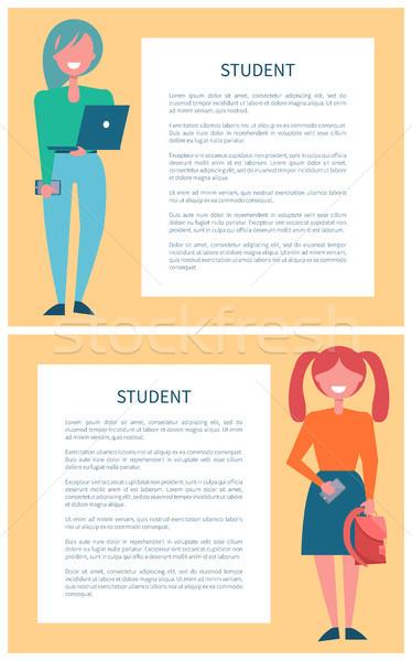 öğrenci kızlar ayarlamak posterler karikatür öğrenciler Stok fotoğraf © robuart