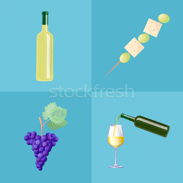Wine Bottles, Ripe Grapes and Tasty Canape Set Stock photo © robuart