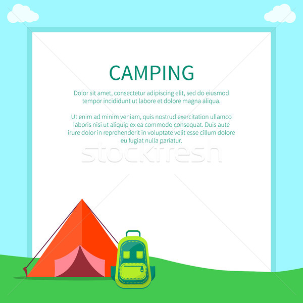 Camping Accessories Rucksack and A-frame Tent Stock photo © robuart