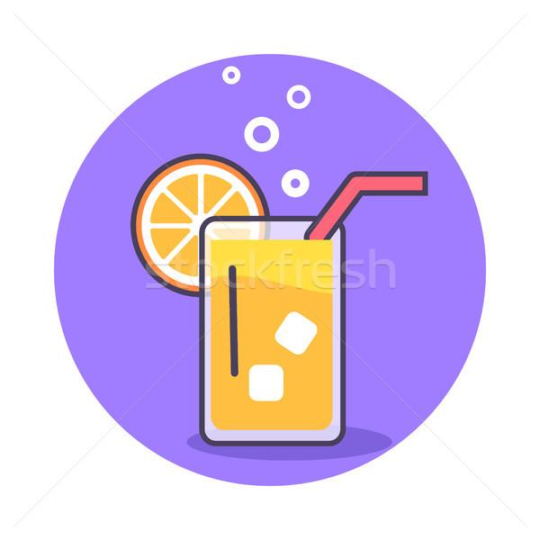 Circle Icon Depicting Glass of Refreshing Juice Stock photo © robuart