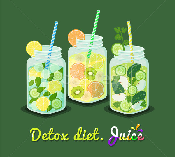 Detoxikáló diéta dzsúz gyűjtemény poszter bögre Stock fotó © robuart