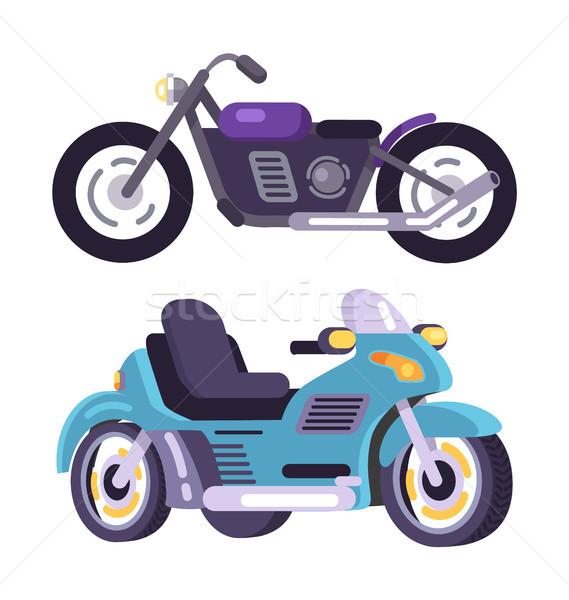 Motorbikes Set Stylish Motor Transport Item Vector Stock photo © robuart