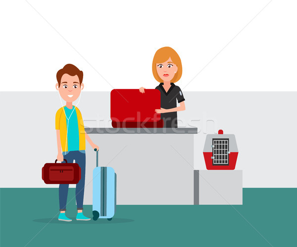 Airport Baggage Security Check Vector Illustration Stock photo © robuart
