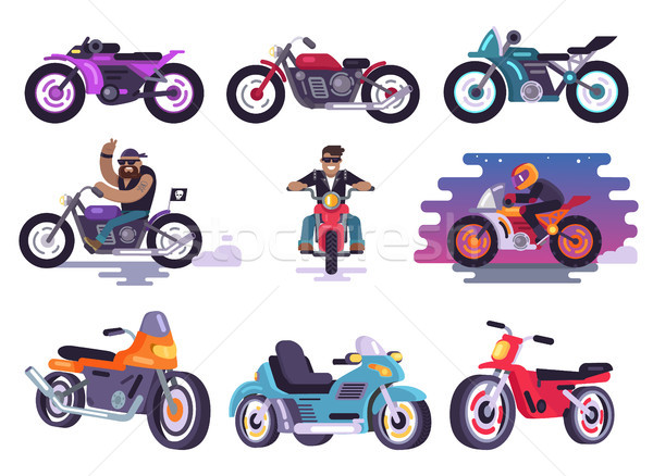 Modern Sport Bikes and Bikers in Leather Jackets Stock photo © robuart