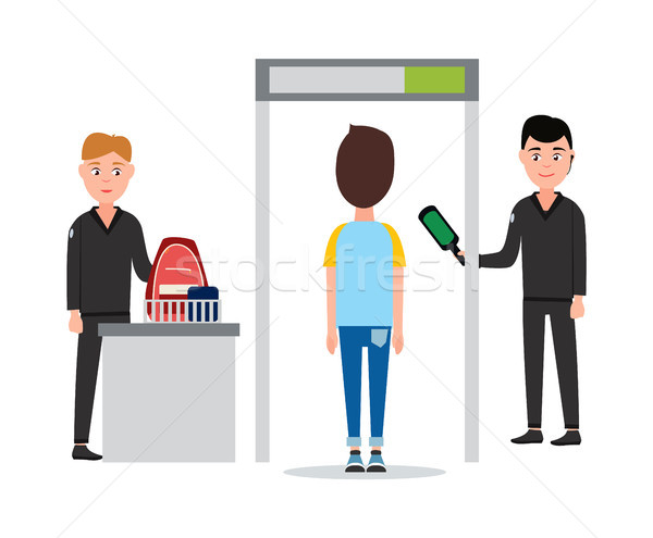 Control of Luggage in Airport Vector Illustration Stock photo © robuart
