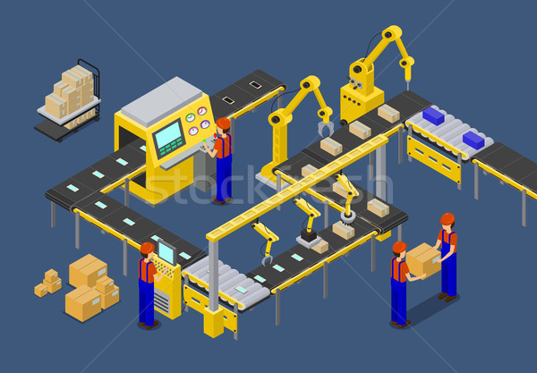 Workers on Factory of Boxes Vector Illustration Stock photo © robuart