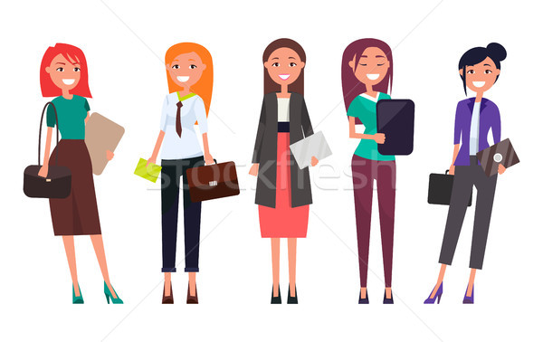 Set Women in Formal Wear with Laptops Envelopes Stock photo © robuart