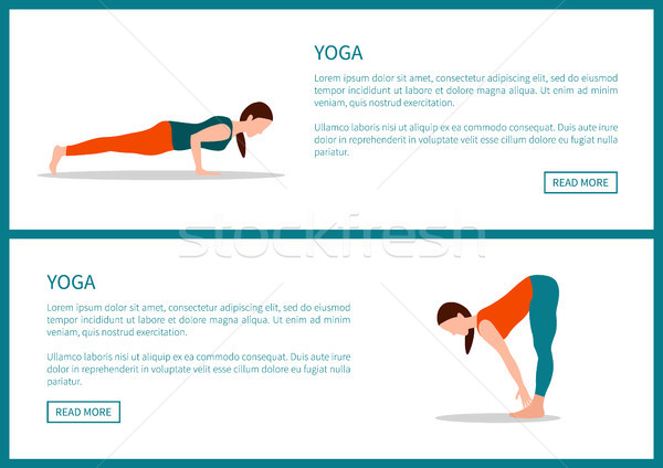 Yoga Poster, Plank and Forward Hold Postures Set Stock photo © robuart
