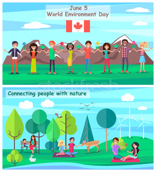 June 5 Connecting People with Nature Set Posters Stock photo © robuart