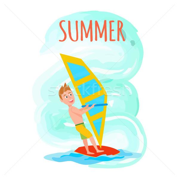 Nyár poszter windszörf sport tevékenység szezonális Stock fotó © robuart
