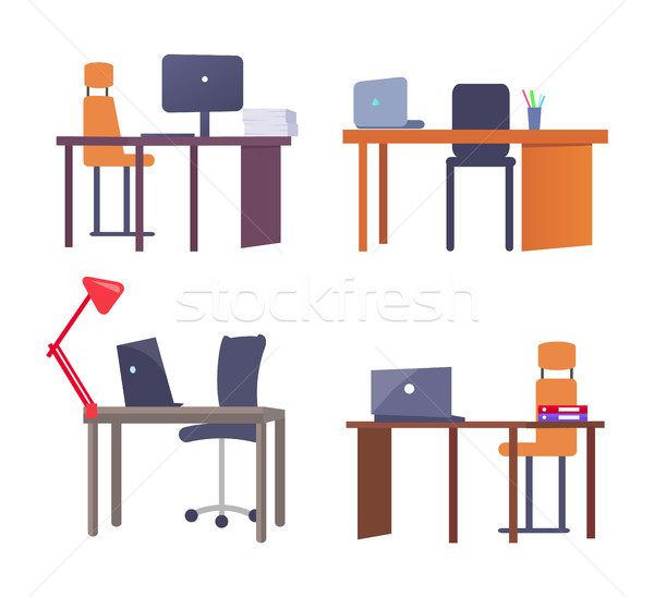 Set of Work Places with Tables, Computer Devices Stock photo © robuart