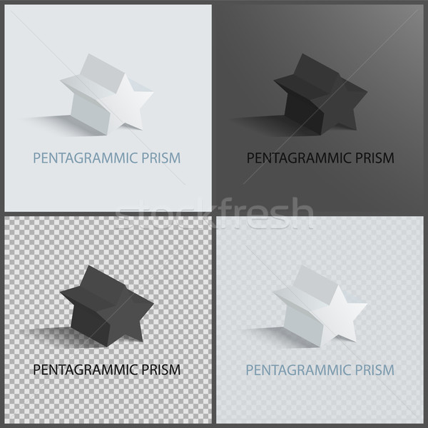 Pentagrammic Prisms Isolated on Black and White Stock photo © robuart