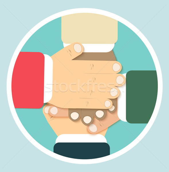 Hands team in flat design Stock photo © robuart