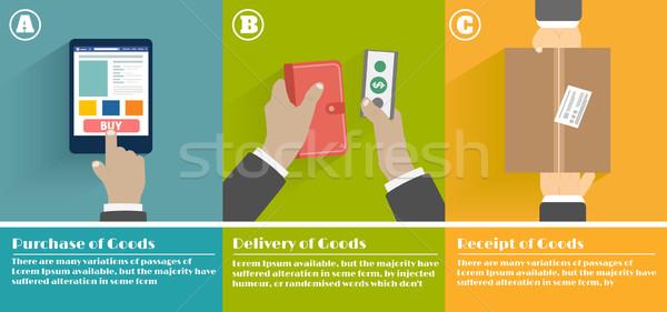 Internetes vásárlás folyamat üzlet vásárlás felirat mobil Stock fotó © robuart