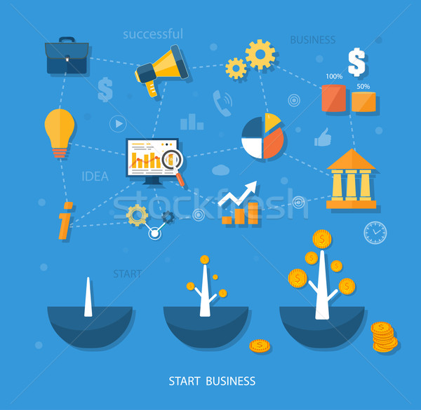 Business start infographics template Stock photo © robuart