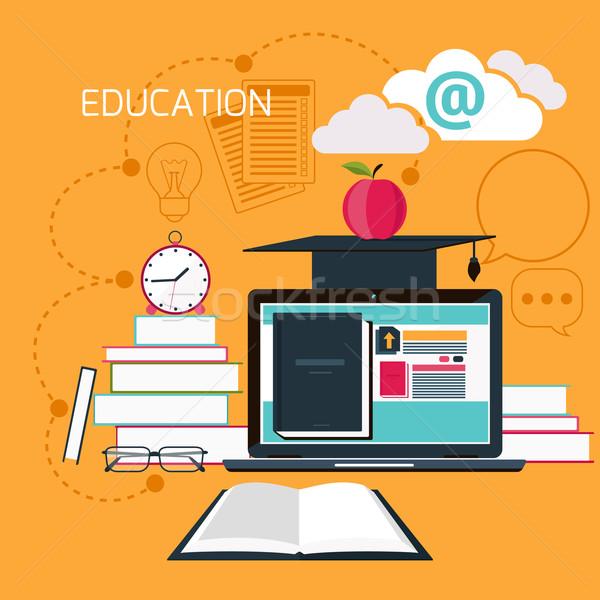 Stock fotó: Online · oktatás · profi · szett · ikonok · terv