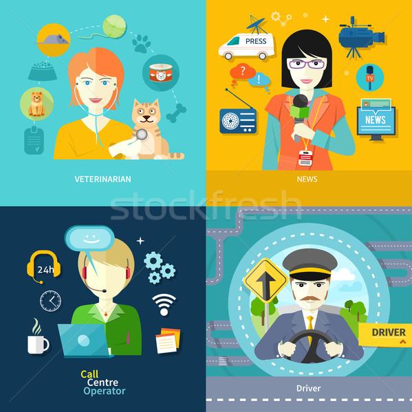 Veterinarian, news, driver and operator Stock photo © robuart