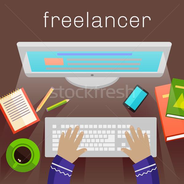 Freelancer journalist computer schrijven stijlvol gekleurd Stockfoto © robuart