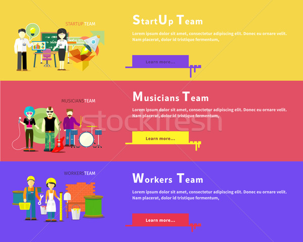 Startup Team. Musicians Group. Workers People Stock photo © robuart
