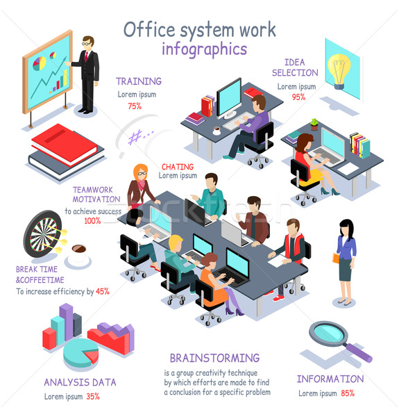 Isometric Office System Work Infographic Stock photo © robuart