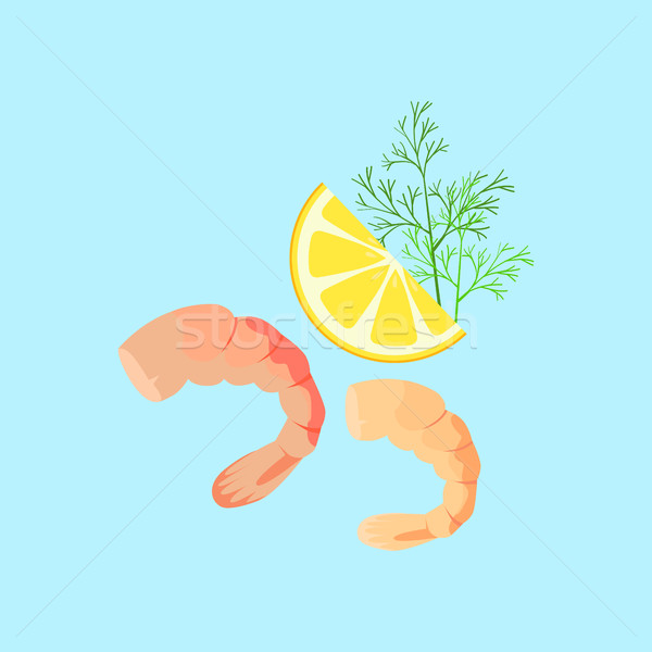 Cooked Shrimp Vector Flat Design Illustration Stock photo © robuart