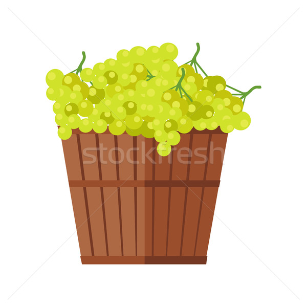 Wooden Basket with Grapes. White Wine. Stock photo © robuart