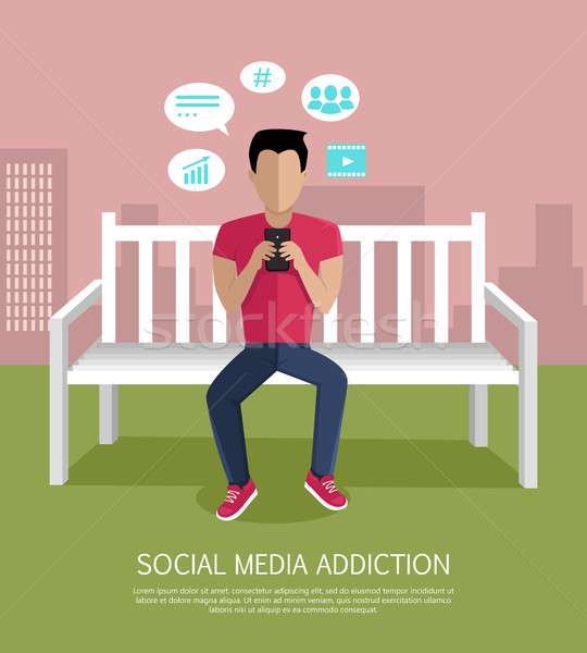 Social Media Addiction Concept Vector Illustration Stock photo © robuart