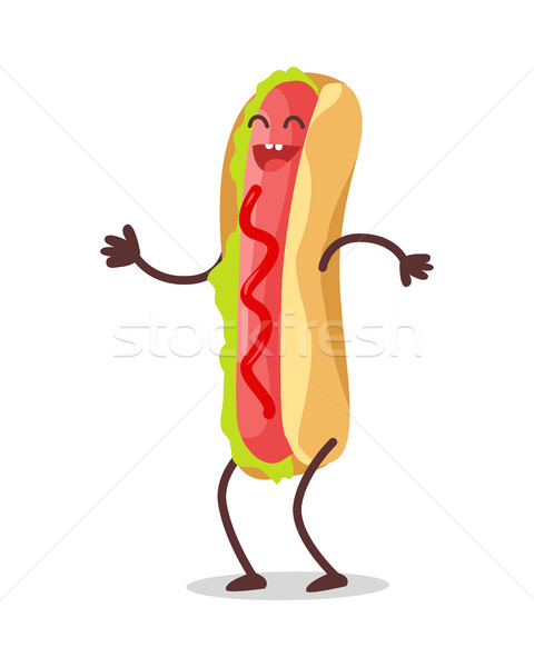 Hot Dog Dancing Isolated on White. Funny Food Stock photo © robuart