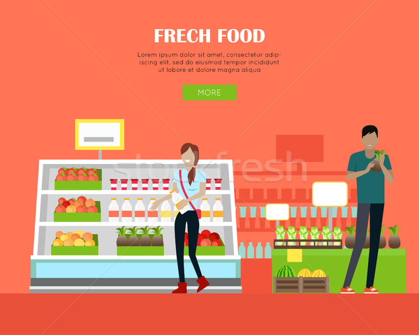 Frische Lebensmittel Laden Banner Design Supermarkt Web Stock foto © robuart