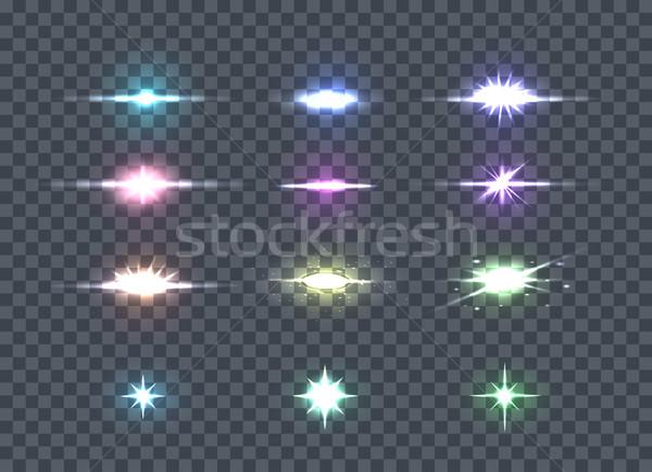 Set Glows Bright Star Lights. Glowing Stars Stock photo © robuart
