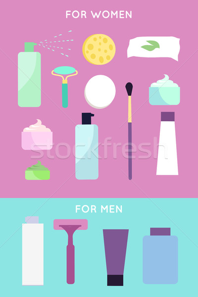 Elements for girls and boys face wash Stock photo © robuart