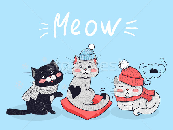 Funny Cats Vector Concept in Flat Design Stock photo © robuart