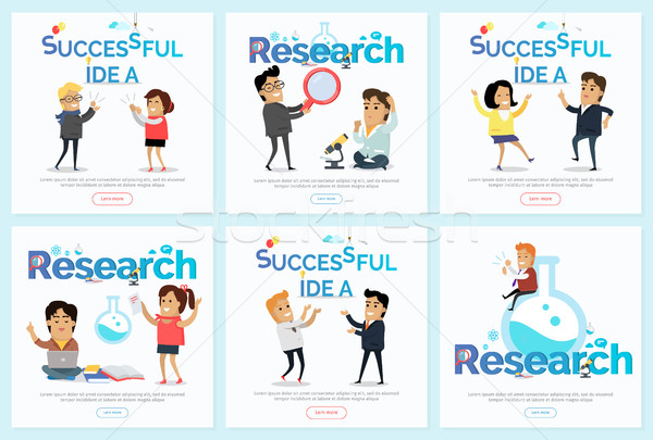 Successful Idea and Research Vector Banners Set Stock photo © robuart