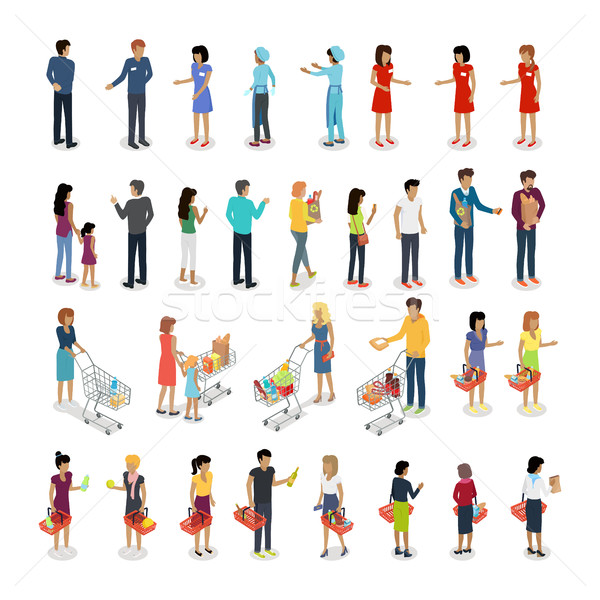 Set of Customers and Sellers Characters Vector Stock photo © robuart