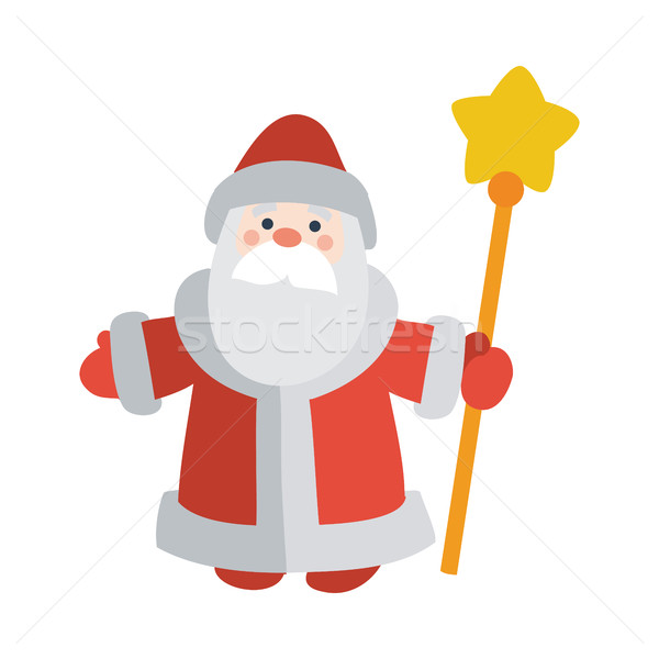 Santa Claus with Stick Isolated. Father Frost Stock photo © robuart